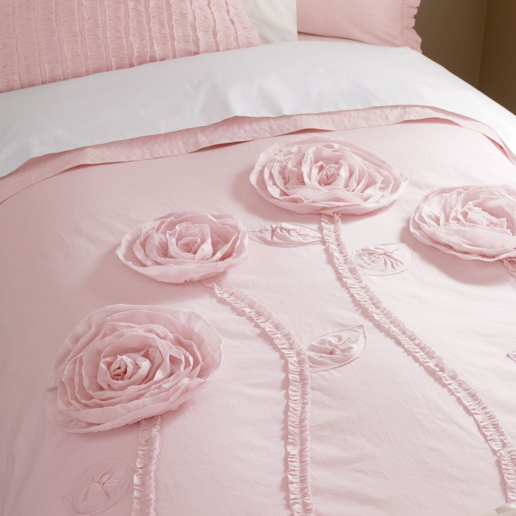 Bee Mused Review Pink Floral Appliqued Rose Comforter Cover