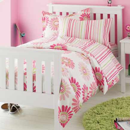 Kids Bedding: Kids Pink Daisy Stripes Cotton Bedding Twin Pink Citrus Daisy Comforter Cover