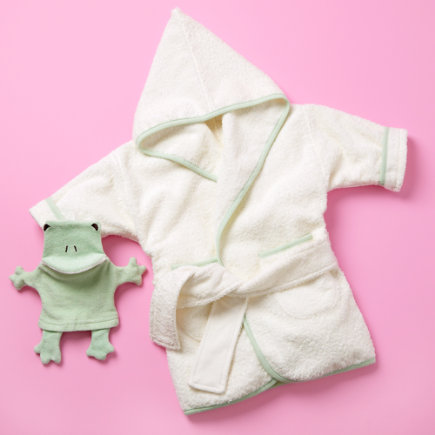 Baby Robes & Towels: Baby White Organic Wrap-Up Robe - X-Small Organic White Bath Robe 18-24 mos