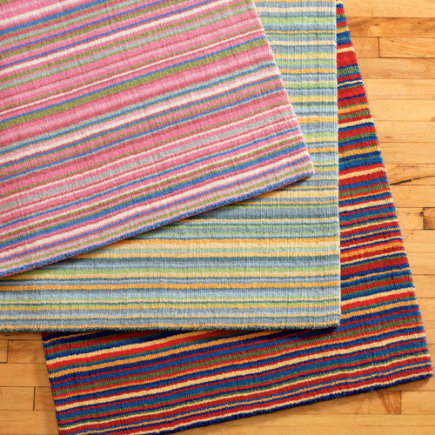 Kids Rugs: Kids Colorful Striped Wool Rug - 4 x 6 Pink/Blue Rug