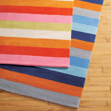 Kids Rugs: Kids Multi Color Bold Wide Stripe Rug - 4 x 6 Pink/Orange Rug