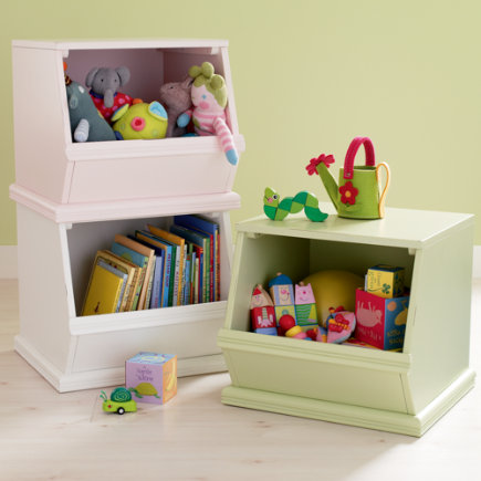 Kids Toy Boxes: Kids Single Wooden Stacking Storage Bin - Lt