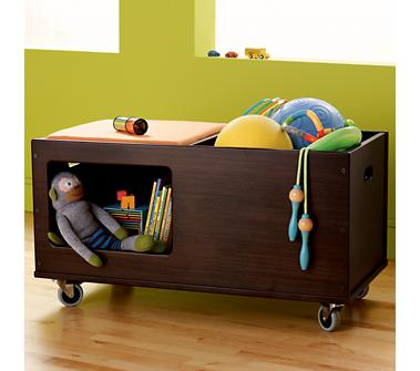 Kids Toy Boxes Kids Chocolate Brown Mojo Toy Box from landofnod.com