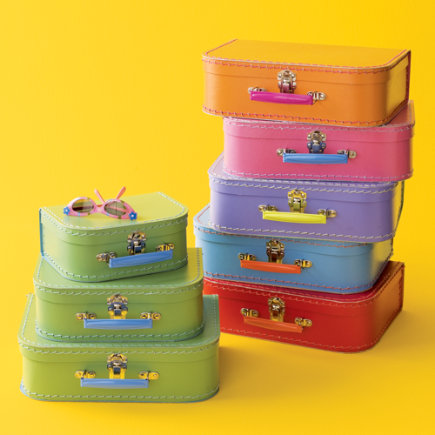 Kids Storage Containers: Kids Mini-Suitcases for Storage - Green w/Blue Suitcases (Set of 3)<br />