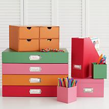 Color Me Organized Storage Collection for Office, Studio Space or Homeschool Room.