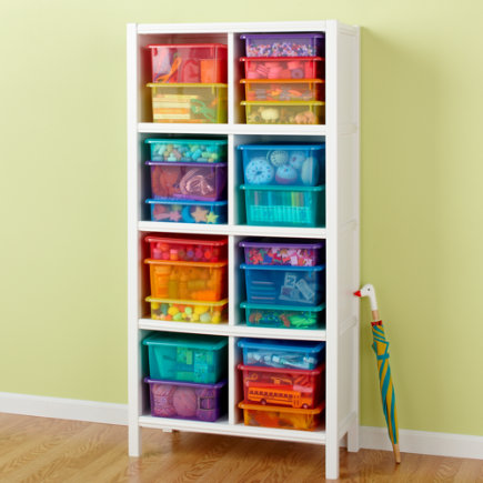 Kids Storage Containers: Kids Colorful See-Through Stackable Box - Blue Small Top Box