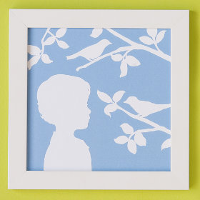 White and Blue Child's Silhouette Art