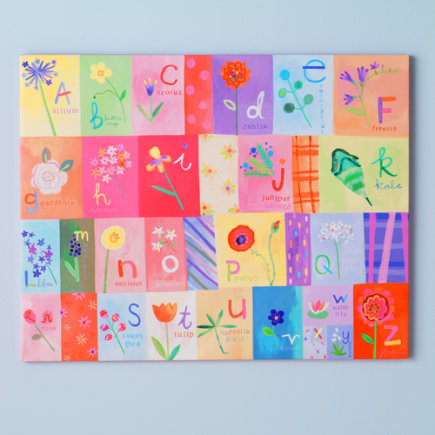 Kids' Posters, Prints & Art: Kids Alphabet Flower Canvas Wall Art - A-Z Flowers Artwork