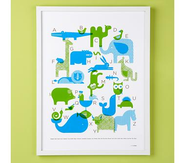 Kids' Posters, Prints & Art: Kids Blue and Green Alphabet Framed Animal Collage Wall Art