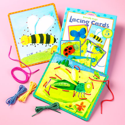 Kids' Arts & Crafts: Kids Bug Threading Card - Bug Lacing Cards