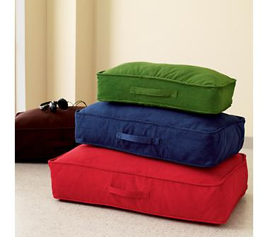 Kids Bean Bags Floor Cushions Kids Colorful Corduroy Floor Cushions from landofnod.com