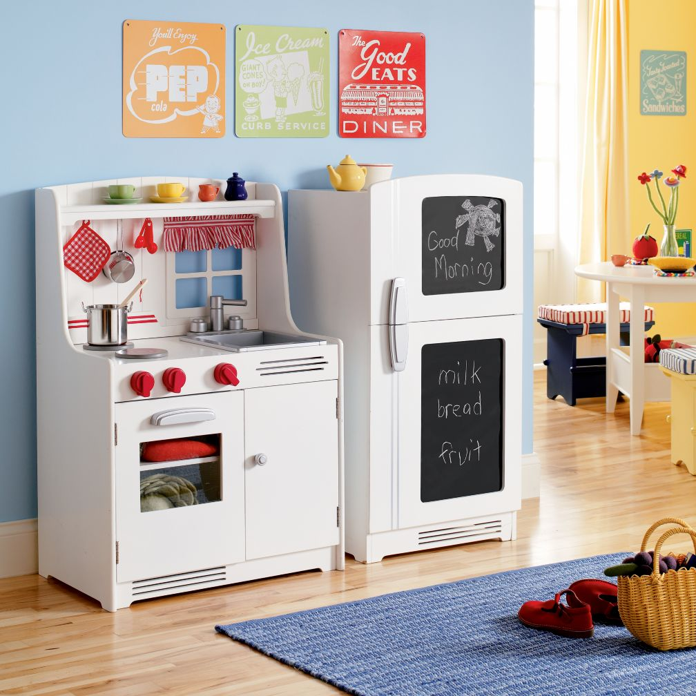 play kitchen children on or this retro set from pottery barn kids for