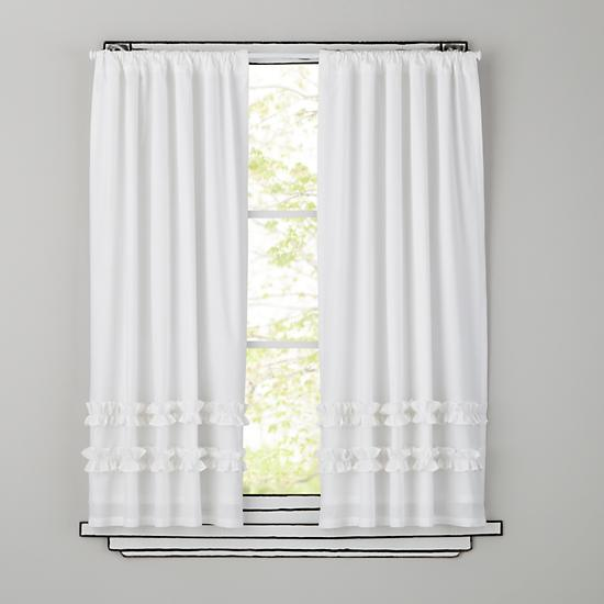 kids 39 curtains kids white ruffle curtain panels the land of nod
