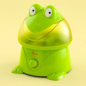Green Frog Kids Humidifier :  ultrasonic operation easy to refill choose frog or penguin frog green kids