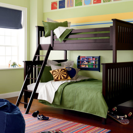 Kids Bunk Beds: Kids Twin-Over-Full Espresso Simple Bunk Bed - Espresso Twin-Over-Full Bunk Bed</p> <p>