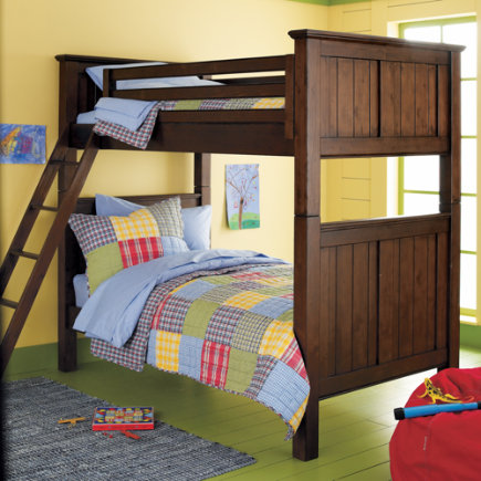 Kids' Bunk Beds: Kids Twin Stained Chocolate Brown Beadboard Bunk Bed - Twin Bunk (Chocolate)