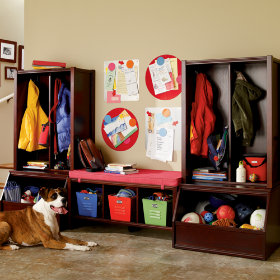 Espresso Cube Locker Hutch & 3-Cube Bench