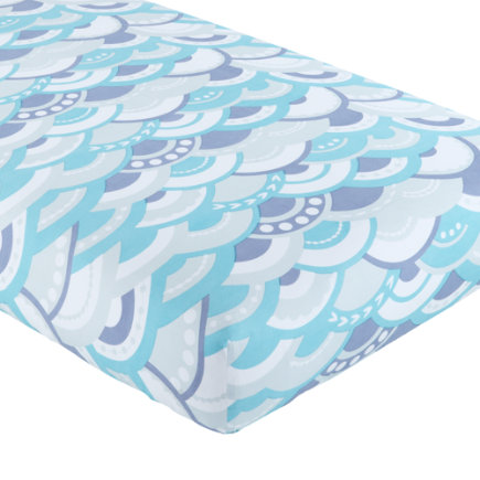 Baby Sheets: Blue Waves Crib Fitted Sheet - Blue Wave Crib Fitted Sheet
