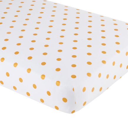 Baby Sheets: Gold Dotted Crib Fitted Sheet - Gold Dot Crib Fitted Sheet