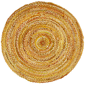 Ring Around the Ribbon Yellow Round Rug