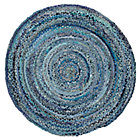 5' dia. Ring Around the Ribbon Blue Round Rug