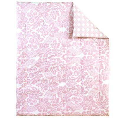 Dk. Pink Floral/Lattice Reversible Crib Quilt