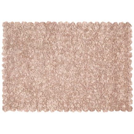 Rose Applique Rug (Pink) - 4 x 6 Pink Rosy Chic Rug