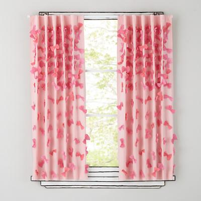 "63"" Bow Tied Curtain Panel (Pink)"