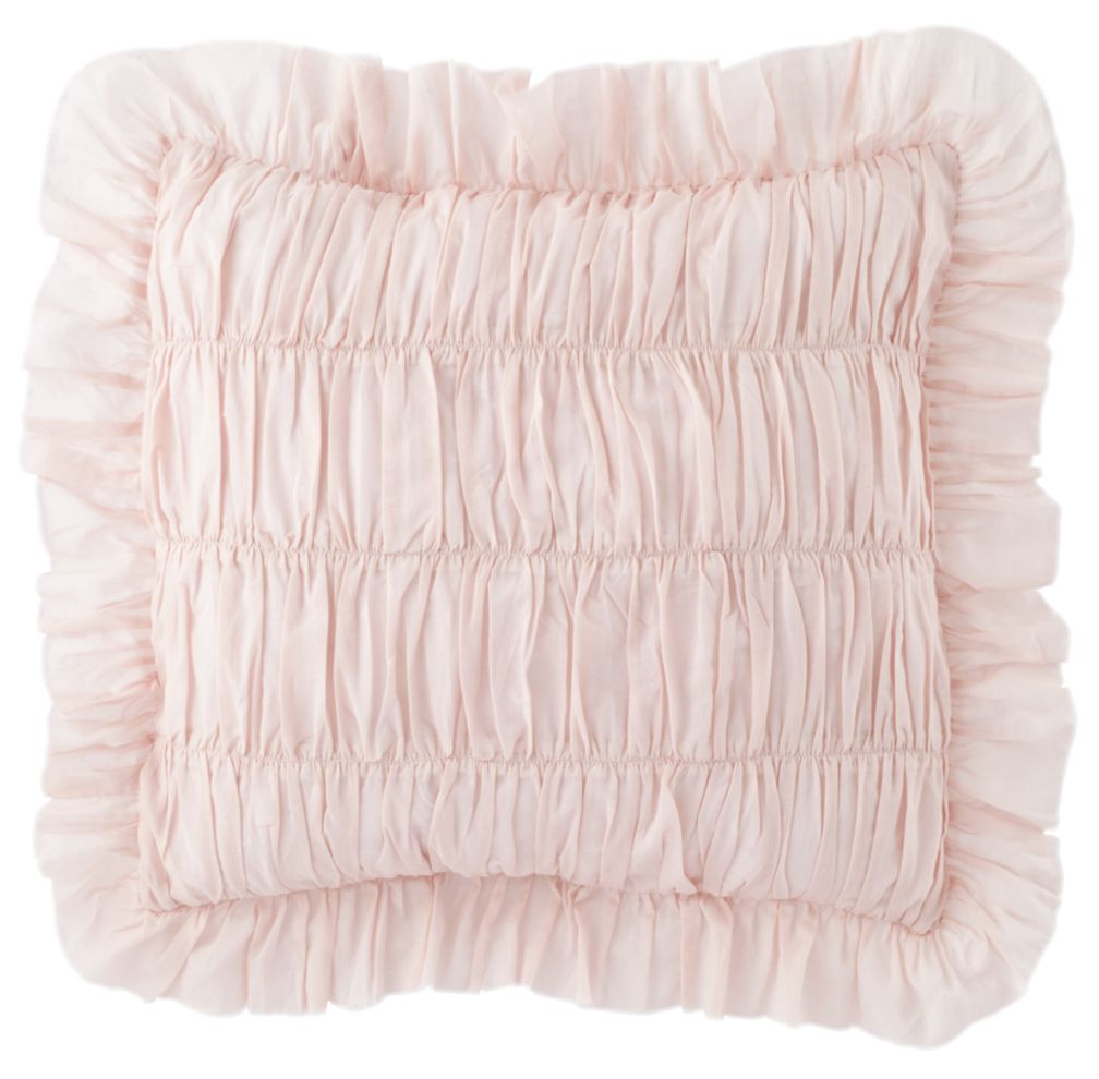Antique Chic Rouched Throw Pillow Cover (Pink)