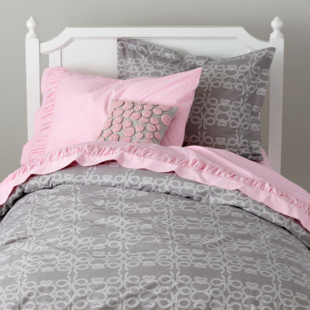 Girls Bedding: Grey Looped Bedding Set - Twin In The Loop Duvet Cover