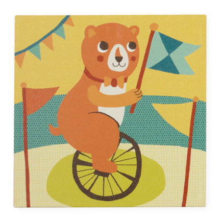 Kids Wall Art: Circus Bear Unicycle Artwork - Bear Three Ring Wall Art