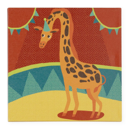 Kids Wall Art: Circus Giraffe Artwork - Giraffe Three Ring Wall Art