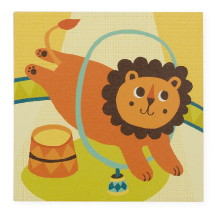Kids Wall Art: Circus Lion Artwork - Lion Three Ring Wall Art
