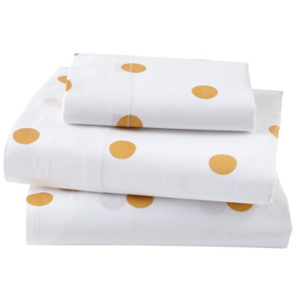 Gold Dot Toddler Sheet SetIncludes fitted sheet, flat sheet and one toddler pillowcase