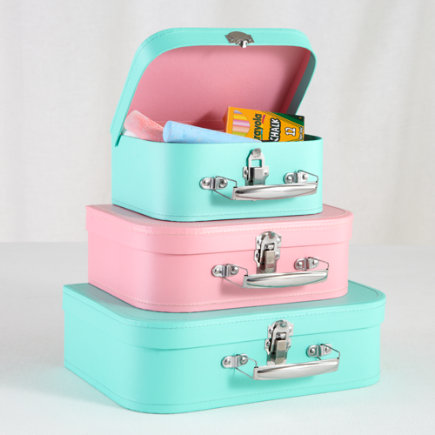 Kids Storage: Aqua and Pink Storage Suitcases - Aqua/Pink Bon Voyage Suitcases Set of 3