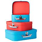 Blue/Red Bon Voyage Suitcases Set of 3