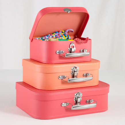 Kids Storage: Pink and Peach Storage Suitcases - Pink/Peach Bon Voyage Suitcases Set of 3
