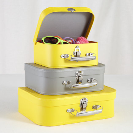 Kids Storage: Yellow and Grey Storage Suitcases - Yellow/Grey Bon Voyage Suitcases Set of 3
