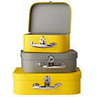 Yellow/Grey Bon Voyage Suitcases Set of 3