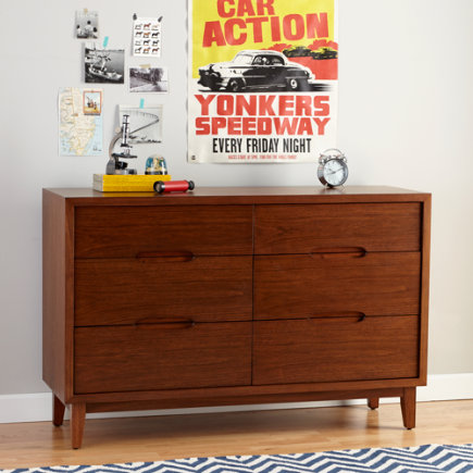 Kids Dressers: Walnut Retro 6-Drawer Dresser - Walnut Ellipse 6-Drawer Dresser
