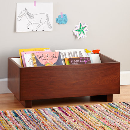 Kids Book Bins: Walnut Book Storage Bin - Walnut/White Open Book Bin