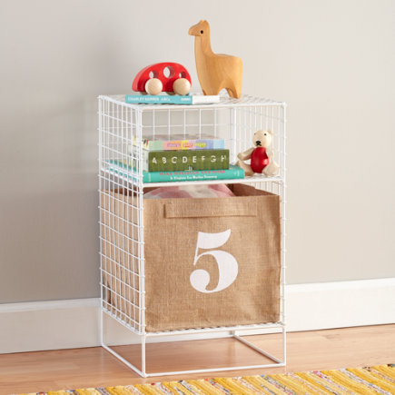 Kids Nightstand: White Steel Wire Nightstand - White 2-Cube On the Grid Nightstand