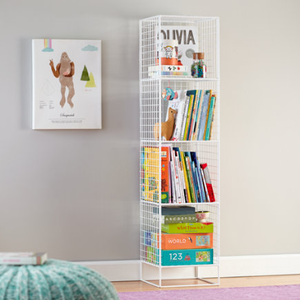 Kids Bookcase: White Steel Wire Bookcase - White 4-Cube On the Grid Bookcase