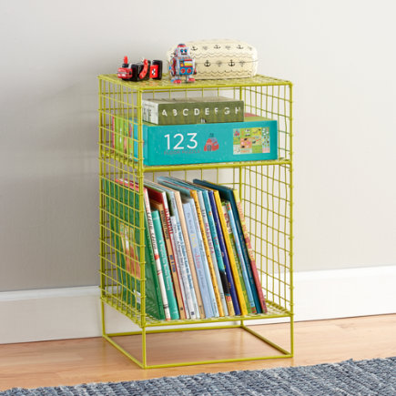 Kids Nightstand: Lime Steel Wire Nightstand - Lime 2-Cube On the Grid Nightstand