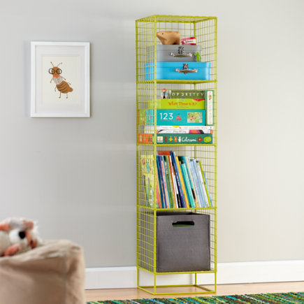 Kids Bookcase: Lime Steel Wire Bookcase - Lime 4-Cube On the Grid Bookcase