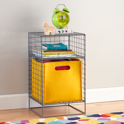 Kids Nightstand: Grey Steel Wire Nightstand - Grey 2-Cube On the Grid Nightstand