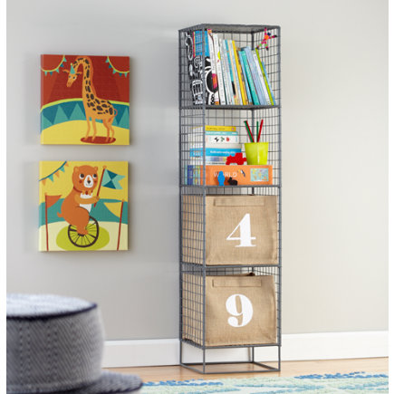 Kids Bookcase: Grey Steel Wire Bookcase - Grey 4-Cube On the Grid Bookcase