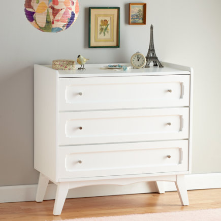 Kids Dressers: White 3-Drawer Monarch Dresser - White Monarch 3 Drawer Dresser
