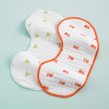Baby Bibs and Burp Cloths: Aden + Anais Orange Burp Bib Cloths - Frogs/goldfish Burpies (set Of 2)