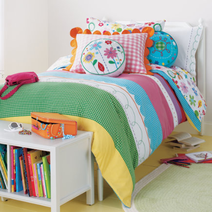 Girls Bedding: Girls Embroidered Patchwork Bedding Comforter - Twin Duvet Cover